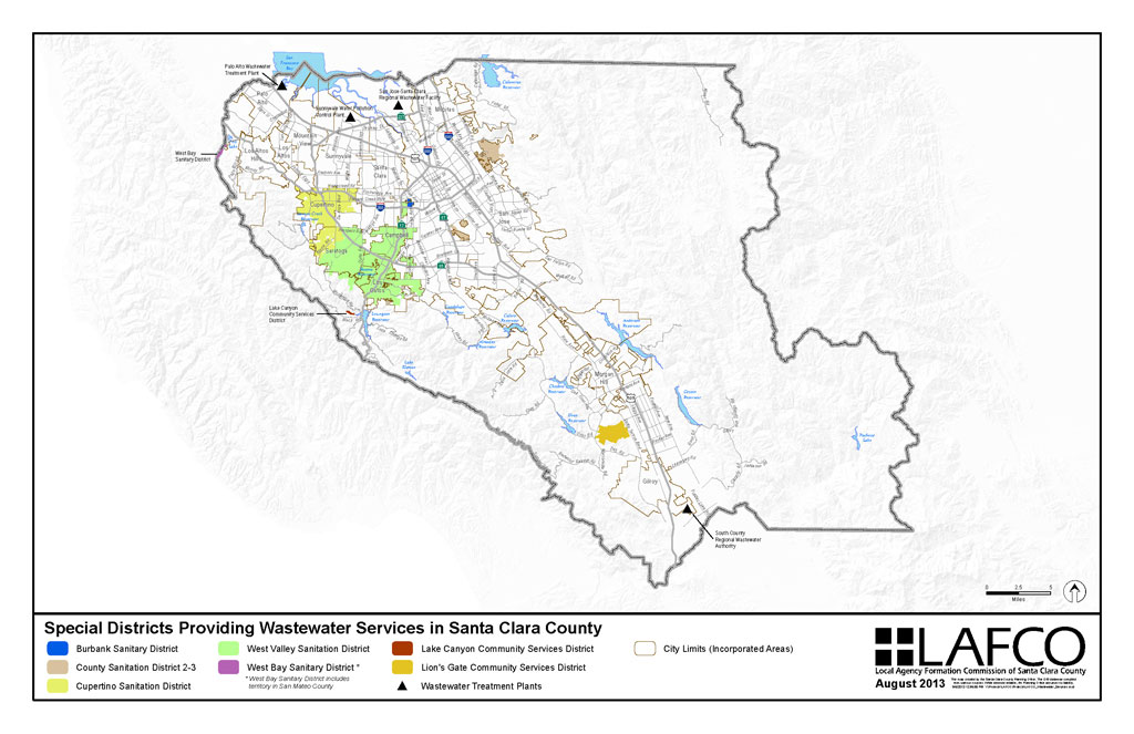 Map of Special Districts providing Wastewater Services in Santa Clara County