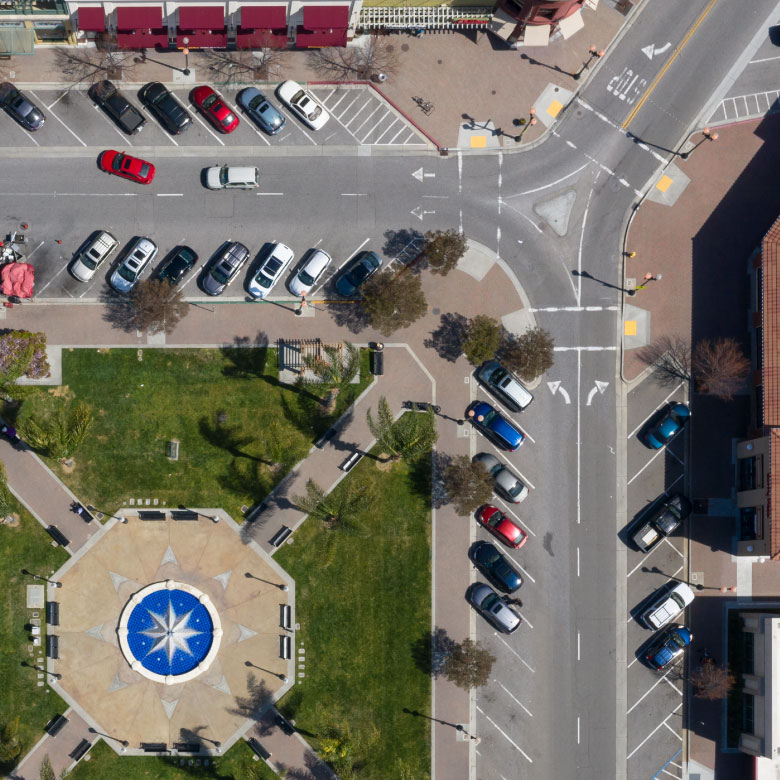 View of a public plaza and town square from directly above.